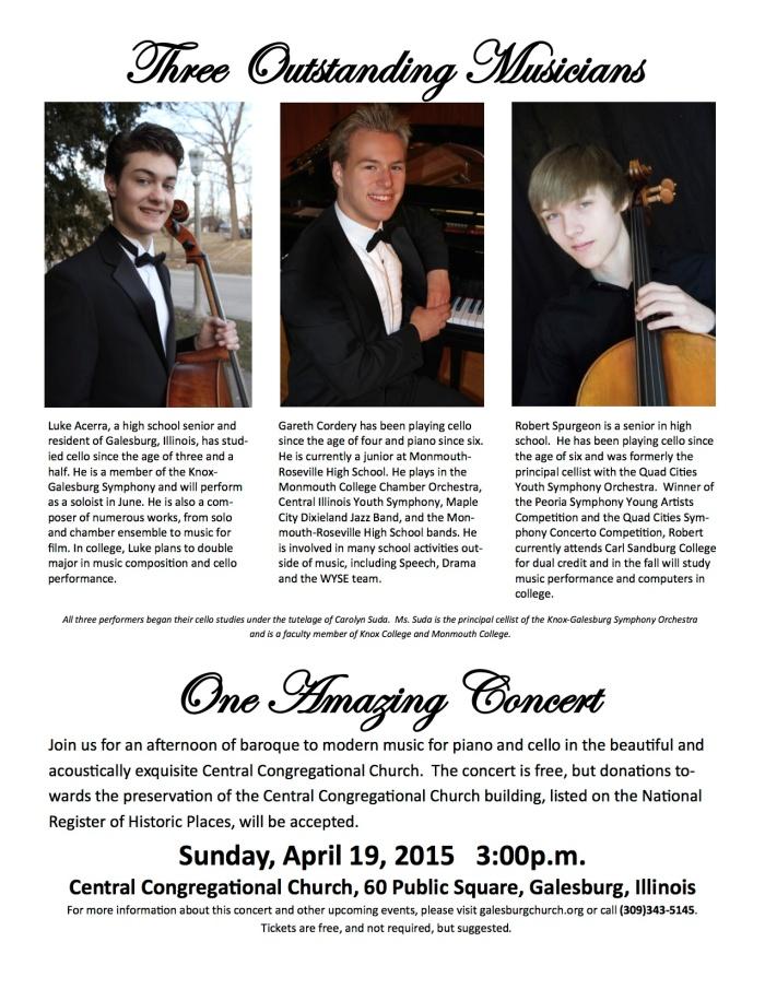 Poster for April 19, 2015 Concert
